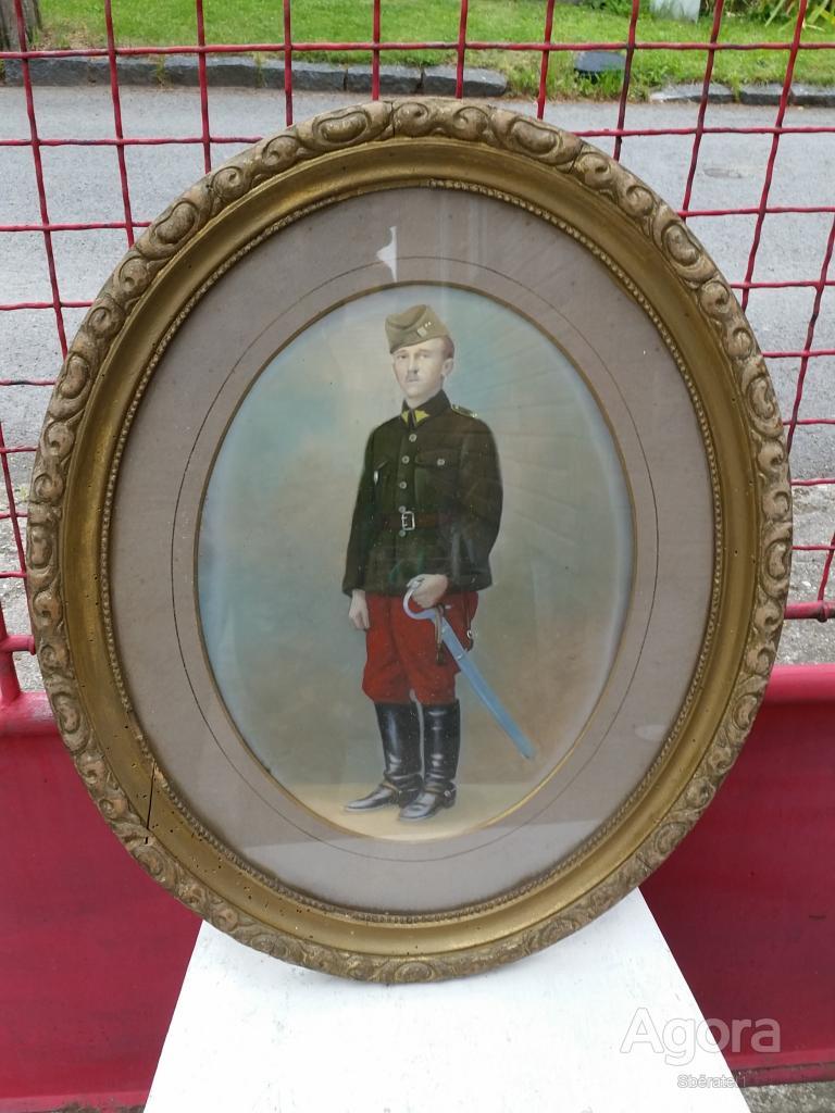 Originální starý obraz vojáka 1.republika DRAGOUN SE ŠAVLÍ armáda ČSR jezdectvo uniforma šavle !!!