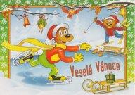 VÁNOCE: kreslená vánoční pohlednice - zvířátka, brusle, lyže, sáňky (ČISTÁ)