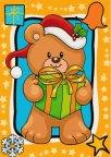 VÁNOCE: kreslená vánoční pohlednice - medvídek, dárek (ČISTÁ)