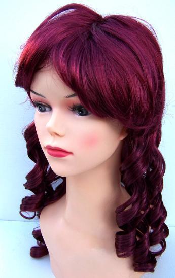 2304 Paruka dlouhé vlasy tmav. červená lokny 25