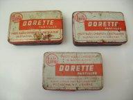Stará plechová krabička LIPO DORETTE výr. Poživatina Liberec - 3 ks (S)
